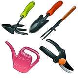 Sistema de los utensilios de jardinería para el jardinero experto, 5 iconos Foto de archivo libre de regalías