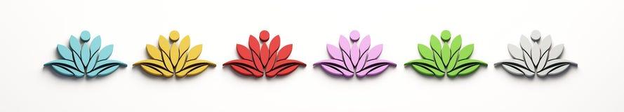 Sistema de Lotus Person Logo 3d rinden la ilustración ilustración del vector