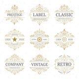Sistema de lujo de la plantilla del logotipo del vintage con las líneas elegantes de los flourishes Fotos de archivo