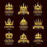 Sistema de lujo del logotipo de la corona stock de ilustración