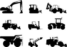 Sistema de máquinas de la construcción pesada Vector Foto de archivo libre de regalías