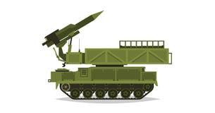 Sistema de mísseis antiaéreo Rockets e shell Equipamento militar especial Ataque de ar Todo o veículo do terreno, veículos pesado ilustração royalty free