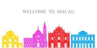 Sistema de Macao Arquitectura aislada de Macao en el fondo blanco libre illustration
