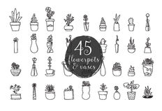 Sistema de 45 macetas y floreros Diseño dibujado mano del vector Foto de archivo