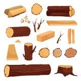 Sistema de madera stock de ilustración