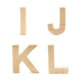 Sistema de madera de la letra de molde aislado Imágenes de archivo libres de regalías