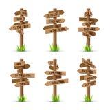 Sistema de madera del vector de dirección de los letreros de la flecha stock de ilustración