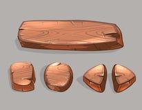 Sistema de madera del vector de los botones de la historieta ilustración del vector