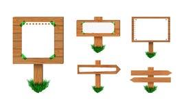 Sistema de madera de los postes indicadores del vector, aislado en la colección blanca del fondo de muestras retras stock de ilustración