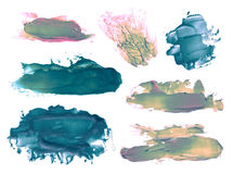 Sistema de manchas blancas /negras de acrílico abstractas de los movimientos del cepillo Imágenes de archivo libres de regalías