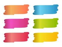 Sistema de manchas coloridas en estilo del cepillo de pintura Imagen de archivo libre de regalías