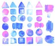 Sistema de manchas de la acuarela del color del cuarzo color de rosa ilustración del vector