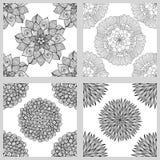 Sistema de Mandala Seamless Patterns Ornamento redondo blanco y negro Imágenes de archivo libres de regalías