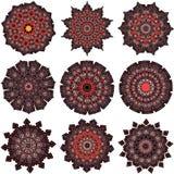 Sistema de mandalas anaranjado-marrones Fotos de archivo