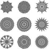 Sistema de mandalas blancos y negros Imagen de archivo libre de regalías