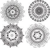Sistema de mandalas blancos y negros Imagen de archivo