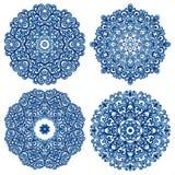 Sistema de mandalas en estilo del gzhel Ornamentos tradicionales de Oriente Foto de archivo libre de regalías
