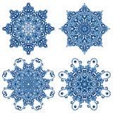 Sistema de mandalas en estilo del gzhel Ornamentos tradicionales de Oriente Fotos de archivo libres de regalías