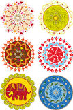 Sistema de mandalas indias coloreadas Fotos de archivo libres de regalías