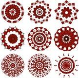 Sistema de mandalas negras y rojas Foto de archivo libre de regalías