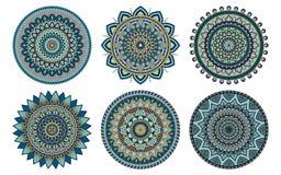 Sistema de 6 mandalas pintadas en la misma paleta, illustrati del vector Foto de archivo libre de regalías