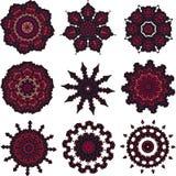 Sistema de mandalas rojo marrón Foto de archivo libre de regalías