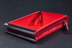 Sistema de manicura rojo Fotos de archivo libres de regalías