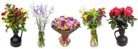 Sistema de manojos de flores en los floreros aislados imagen de archivo libre de regalías