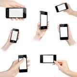 Sistema de manos con el teléfono elegante móvil con la pantalla en blanco Fotografía de archivo libre de regalías