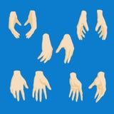 Sistema de manos de la muchacha del historieta-estilo en diversas posiciones Fotos de archivo libres de regalías
