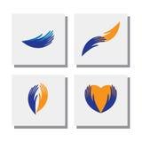 Sistema de manos del cuidado, ayuda, caridad, amor - vector los iconos Foto de archivo libre de regalías