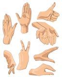 Sistema de manos en diversas emociones y muestras de los gestos ilustración del vector
