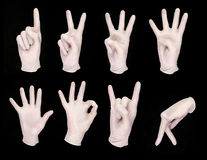 Sistema de manos humanas en los guantes blancos imagen de archivo libre de regalías