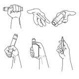 Sistema de manos que sostienen los dispositivos y el cigarrillo del vape Imagenes de archivo