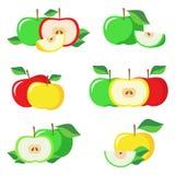 Sistema de manzanas verdes, amarillas, rojas frescas con las hojas verdes Imágenes de archivo libres de regalías