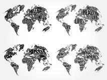 Sistema de mapas de la nube de la palabra del mundo de Infographic Foto de archivo libre de regalías