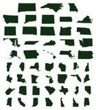 Sistema de mapas de los estados de los E.E.U.U. ilustración del vector