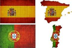 Sistema de mapas y banderas de España y de Portugal Imagenes de archivo