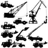 Sistema de maquinaria de construcción de las siluetas Ilustración del vector Fotografía de archivo