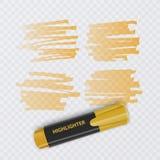 Sistema de marcadores coloridos con los elementos del highlighter aislados en fondo transparente Highlighters transparentes Vecto libre illustration