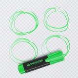 Sistema de marcadores coloridos con los elementos del highlighter aislados en fondo transparente Highlighters transparentes Vecto stock de ilustración