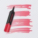Sistema de marcadores coloridos con los elementos del highlighter aislados en fondo transparente Highlighters transparentes Vecto ilustración del vector