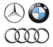 Sistema de marcas alemanas populares de los logotipos de coches stock de ilustración
