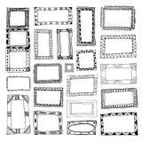 Sistema de marcos dibujados mano Imagen de archivo libre de regalías