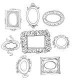 Sistema de marcos dibujados mano. Imagenes de archivo