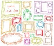 Sistema de marcos dibujados mano Fotografía de archivo libre de regalías