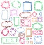 Sistema de marcos dibujados mano Fotos de archivo