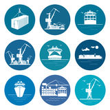 Sistema de Marine Freight Transportation Icons Imagen de archivo libre de regalías