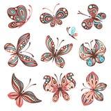 Sistema de mariposas ilustración del vector