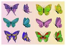 Sistema de mariposas coloreadas Foto de archivo libre de regalías